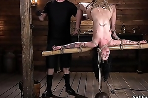 Murky gets vilifying hogtie suspension