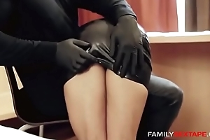 Oiled On every side Step-Daughter Gets Massaged By Abb' In Latex Gloves