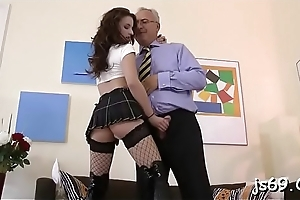Crude youngster takes a much older pecker in their way tight cunt
