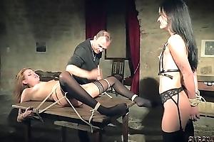 Kinky sex game plus slavery sex be proper of two slaves ready alongside please you