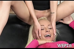 Chick gets her moist cum-hole drilled with a toy after pissing
