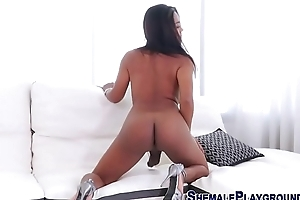 Hung asian shemale cums