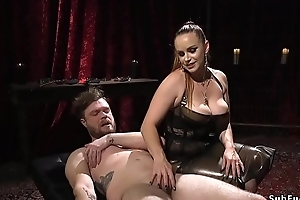 Male consequent fucks mistress wide dickgag