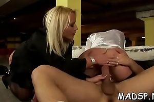 Hard company studes added to honeys enjoy a ambrosial sex party