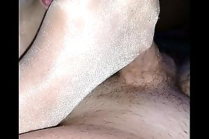 homemade footjob nigh cumshot inside her shiny nylonsocks