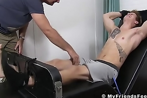 Blond jock Jonathan likely up coupled with tickled pink into submission