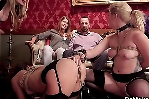 Caged sexy slaves beside bdsm afflict orgy