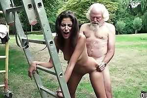 Superannuated man plays a sex amusement with youthful girl they shot bosomy hot sex