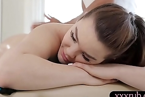 Kinky sunless babe gets gangbanged by nasty black masseur