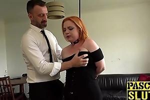 Busty redhead Harley Morgan chokes on cock before seem like plow