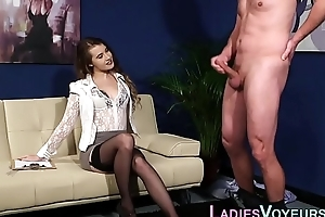 Domina fingers her pussy