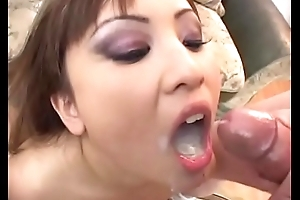 oriental cum pay off bukkake and control roughly return one's dinner