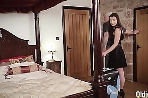 Teenager and her girlfriend get hardcore drilled by pop in hotel room