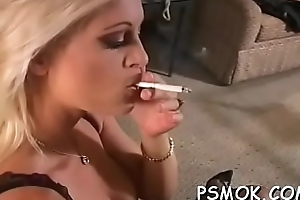 Jaw dropping playgirl teasing roughly a cigarette in her throat