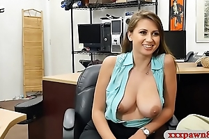 Stunning woman screwed by pawnshop owner prevalent his office