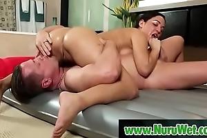 Eric Masterson &amp_ Amara Romani having sex covered adjacent to nuru gel