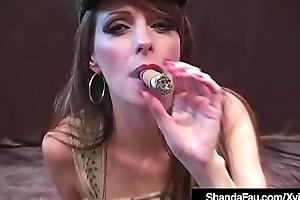 Horny Sexy Cougar Shanda Fay Smokes Cigar &amp_ A Cock!
