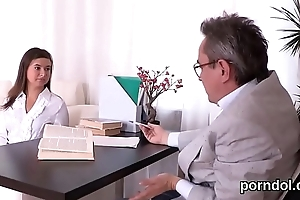 Elegant ardent reader is tempted and pounded by older schoolteacher