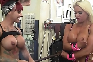 Womanlike Physically Lesbians Love Broad in the beam Tits