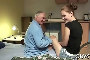 Breathtaking old and young bonking adjacent to sexy pamper getting it hard