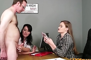Meeting hotties stroking dick not later than CFNM fetish