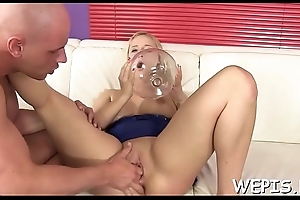 Idle away hottie is pissing around before her lover fucks her
